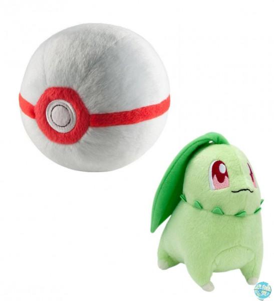 Pokemon - Endivie mit Premier Pokeball Plüschfigur: Tomy