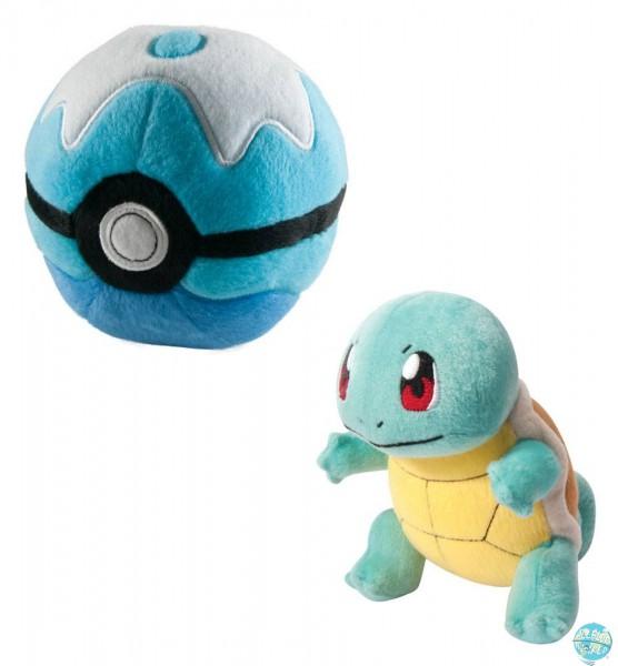 Pokemon - Schiggy mit Pokeball Plüschfigur: Tomy