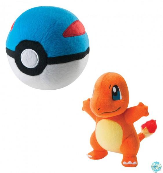 Pokemon - Glumanda mit Greatpokeball Plüschfigur: Tomy