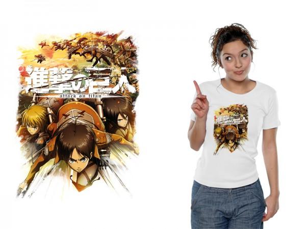 Attack on Titan - T-Shirt / Crew Fight White - Girlie L: Nekowear