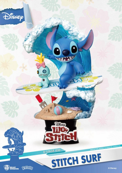 Disney - Surfer Stitch Figur / D-Stage: Beast Kingdom Toys