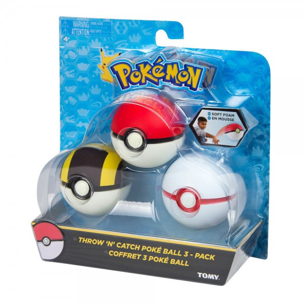 Pokemon - Pokeball 3er-Set / Throw 'n' Catch: Tomy