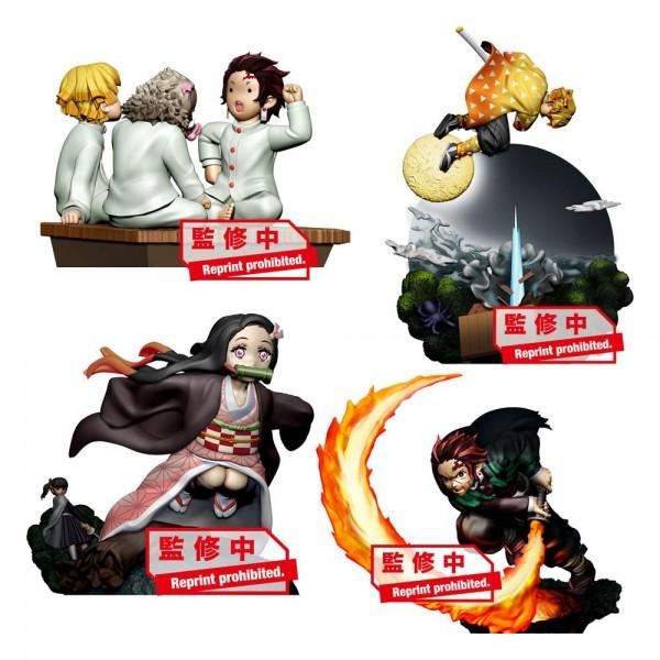 Demon Slayer: Kimetsu no Yaiba - 4er Sammelfiguren-Set / Petitrama - Volume 1: MegaHouse