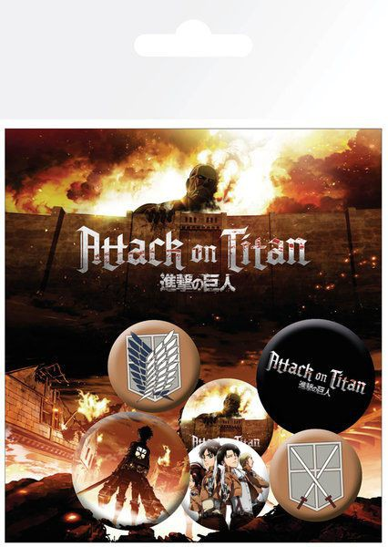Attack on Titan - Ansteck-Buttons 6er-Pack / Characters: GYE