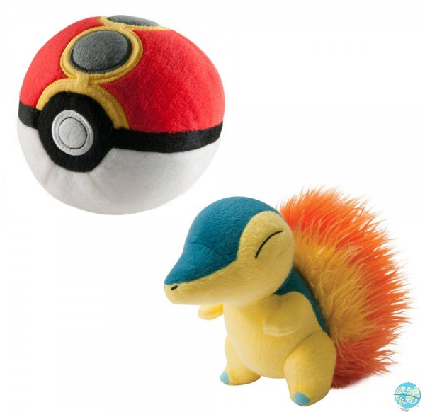Pokemon - Feurigel mit Repeat Pokeball Plüschfigur: Tomy