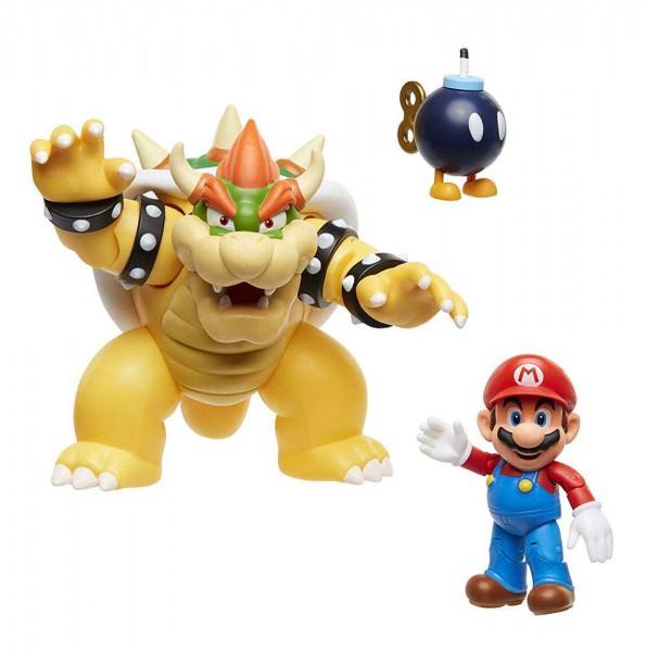 World of Nintendo - Mario vs. Bowser Actionfiguren 3er-Pack / Lava Battle: Jakks Pacific